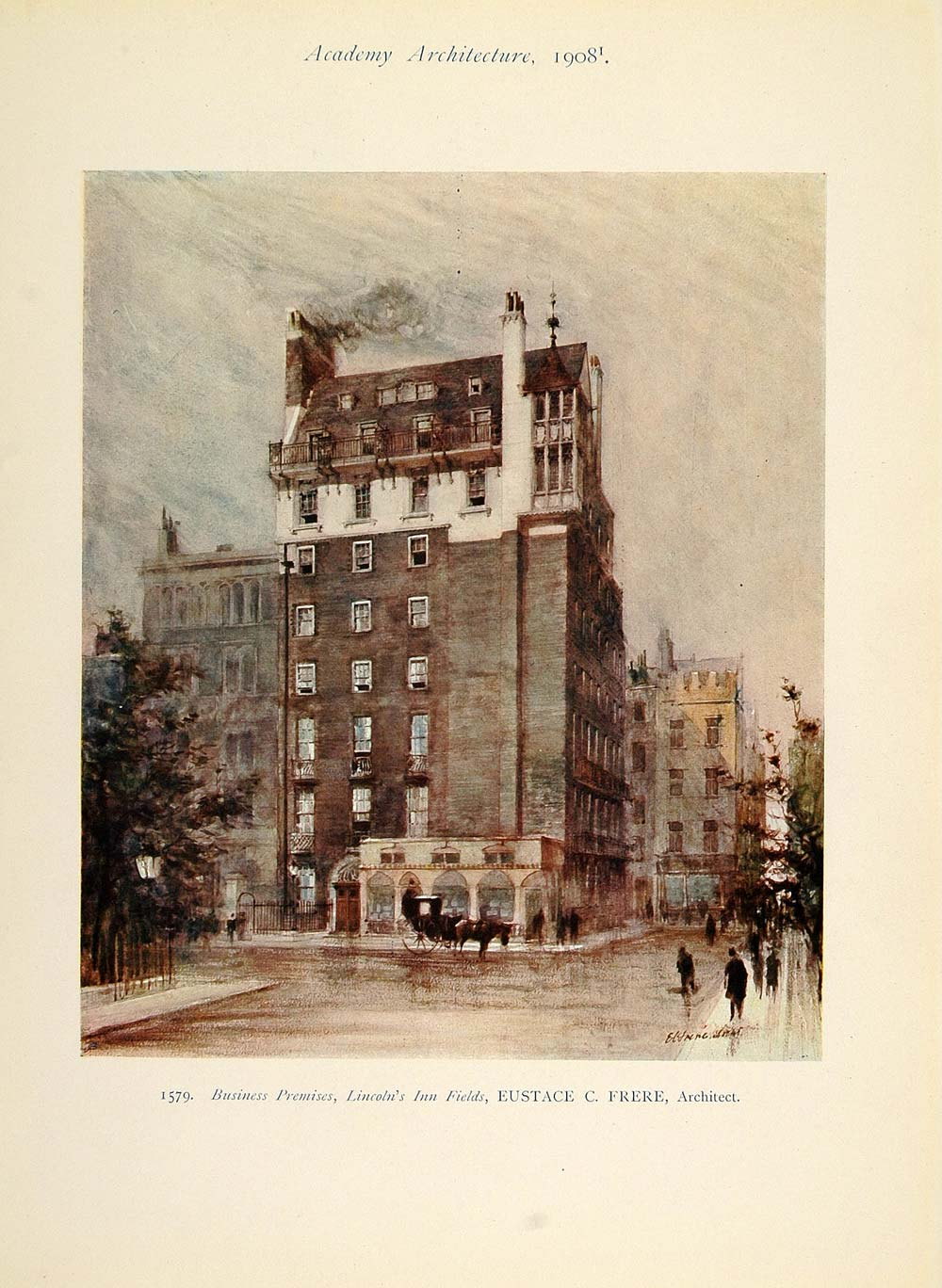 1908 Building Lincoln's Inn Fields Eustace C. Frere - ORIGINAL AD1