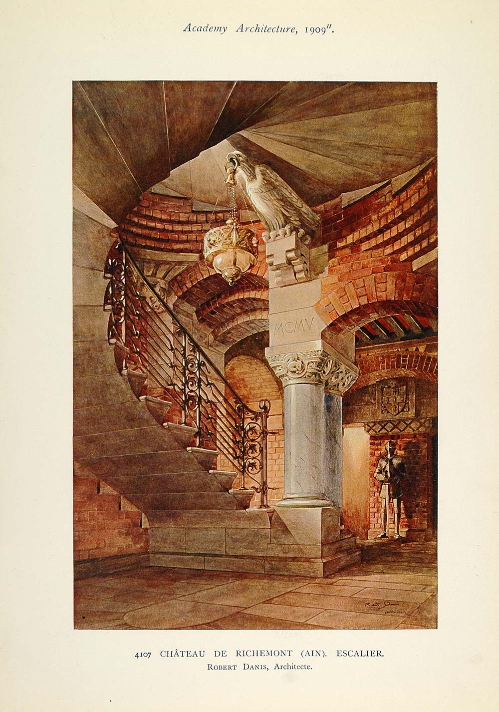 1909 Chateau Richemont Staircase Stairs France Print - ORIGINAL AD1