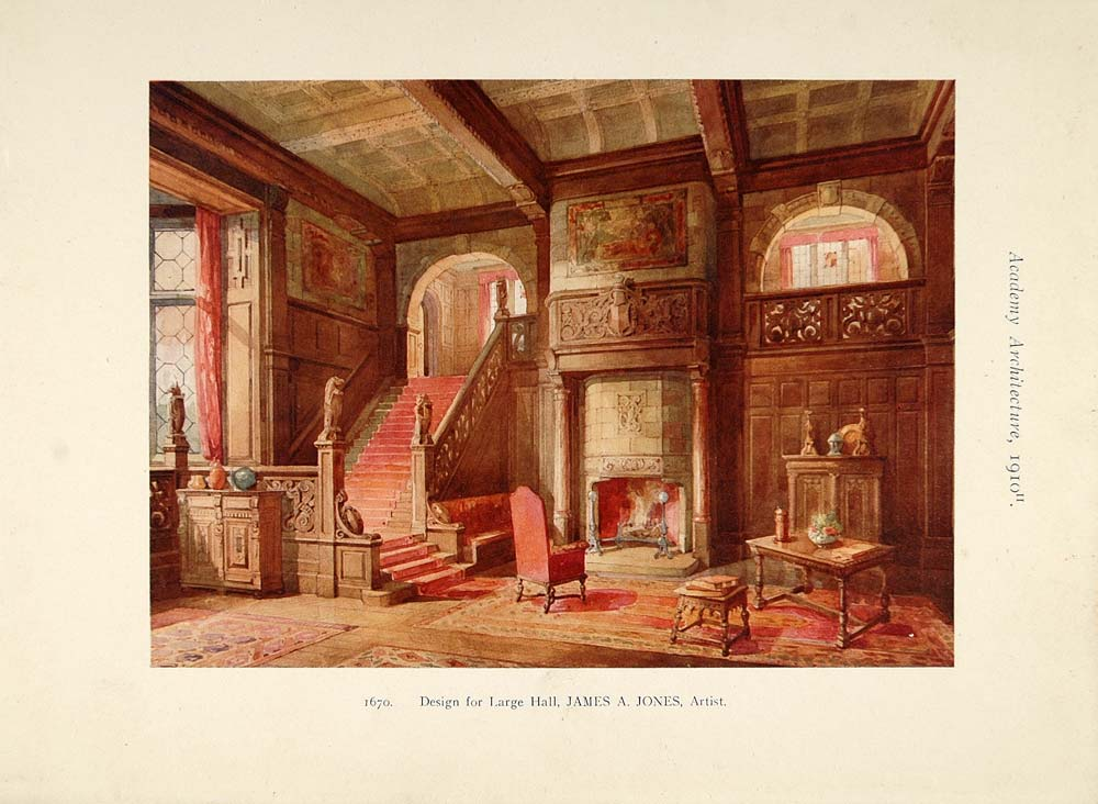 1910 Hall Design Fireplace House James A. Jones Print - ORIGINAL AD1