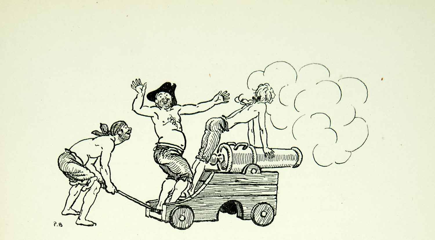 1929 Lithograph Pierrre Brissaud Cannon Fire Firing French Book ADLB2