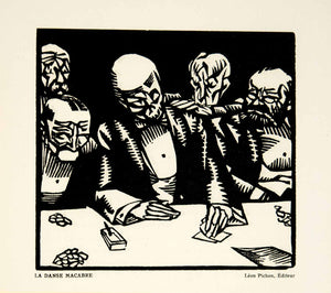1929 Lithograph Hermann-Paul Danse Macabre Dance Death Skull Illustration ADLP1