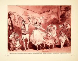 1932 Photolithograph Thomas Rowlandson French Family Dancing Dance Music AEC3