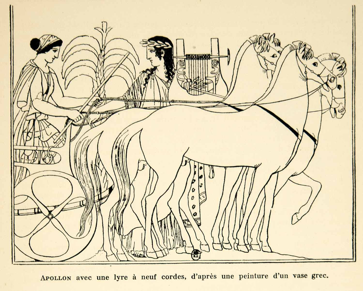 1932 Lithograph Apollo Greek God Lyre Instrument Ancient Greek Vase Chariot AEC3