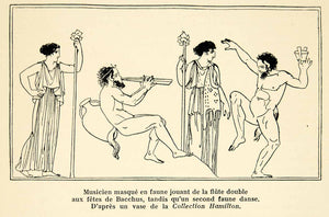 1932 Lithograph Ancient Greek Vase Musician Faun Double Flute Bacchanalia AEC3