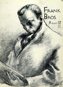 1957 Lithograph Clara Klinghoffer Sketch Art Man Reading Frank Bros New AEF6