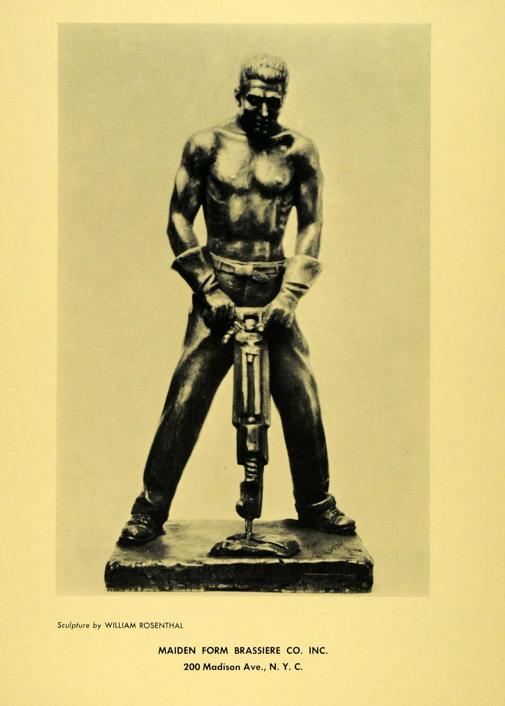 1958 Print William Rosenthal Topless Man Drilling Sculpture Maiden Form AEF7