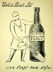 1954 Lithograph Ruth Reeves Art Cork & Bottle Sommelier Wine Corkscrew AEFA2