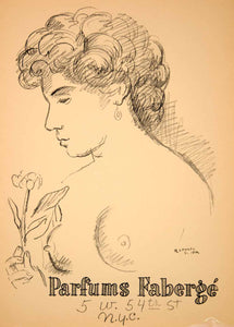 1954 Lithograph Raphael Soyer Nude Art Parfums Faberge Perfume Fragrance AEFA2