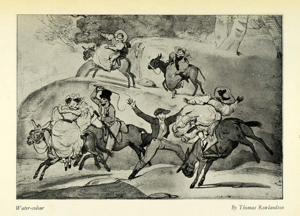 1932 Print Thomas Rowlandson Donkeys Riders Drawing Caricature English AFC1