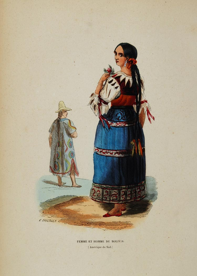 1843 Print Ethnic Costume Woman Bolivia Bolivian Dress - ORIGINAL AFCOST