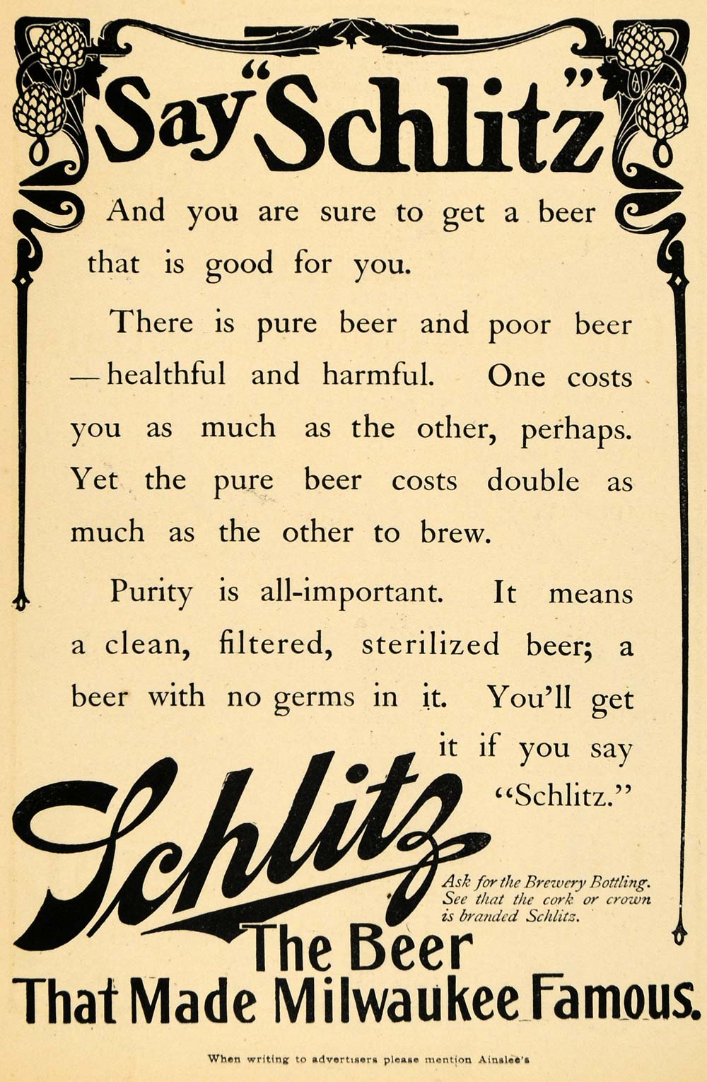 1907 Ad Healthy Sterilized Beer Say Schlitz Made Milwaukee Famous Alcohol AIN1