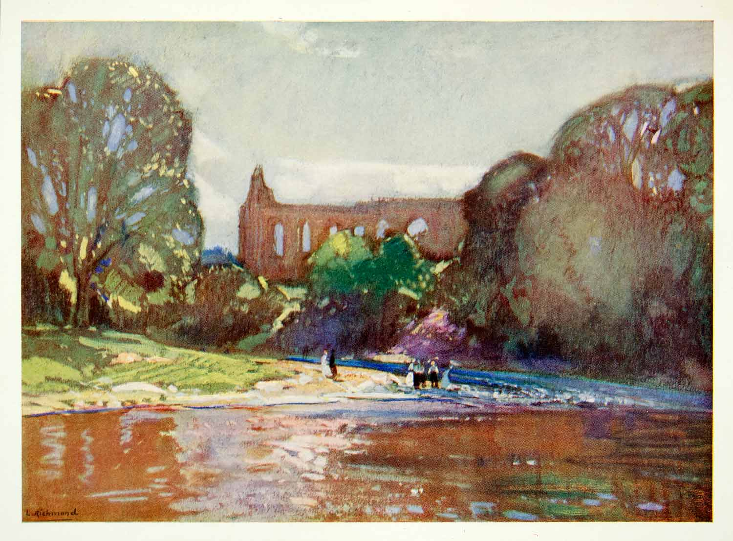 1928 Print Landscape Leonard Richmond Bolton Abbey Yorkshire Water Building ALP1