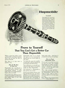 1924 Ad Hupp Motor Car Hupmobile Detroit Michigan Camshaft Part Car AM2