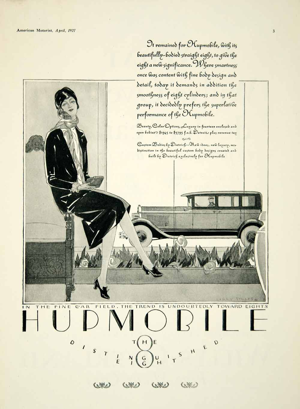 1927 Ad Hupp Motor Company Hupmobile Art Deco Woman Car Drive Automobile Am2