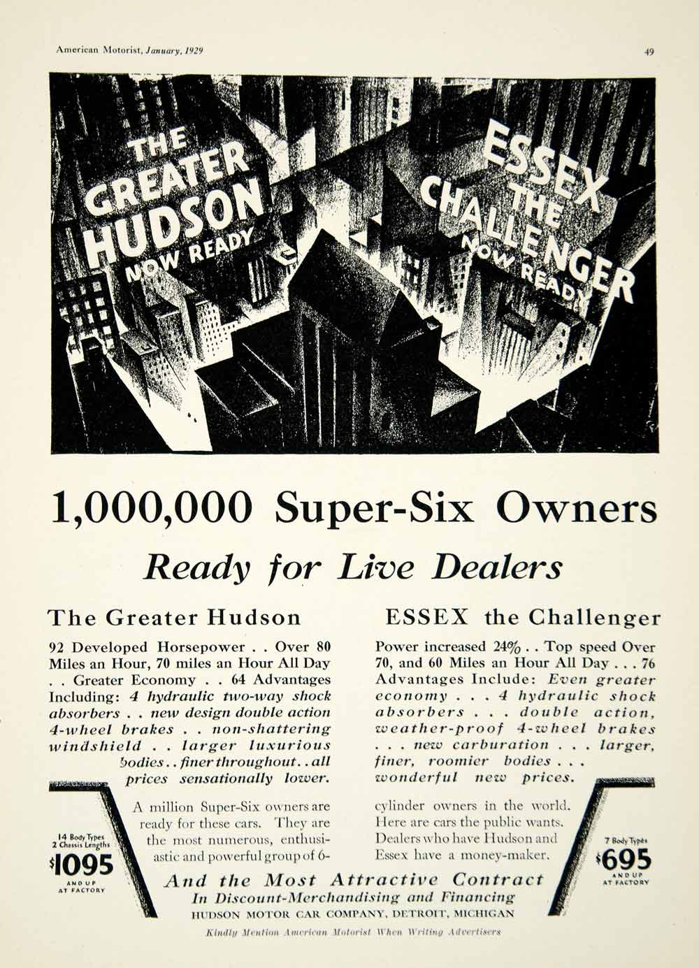 1929 Ad Great Hudson Essex Challenger Motor Company Detroit Michigan AM2