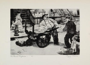 1939 Peggy Bacon The Rival Ragmen Rag Pickers Cat Print ORIGINAL HISTORIC AMER