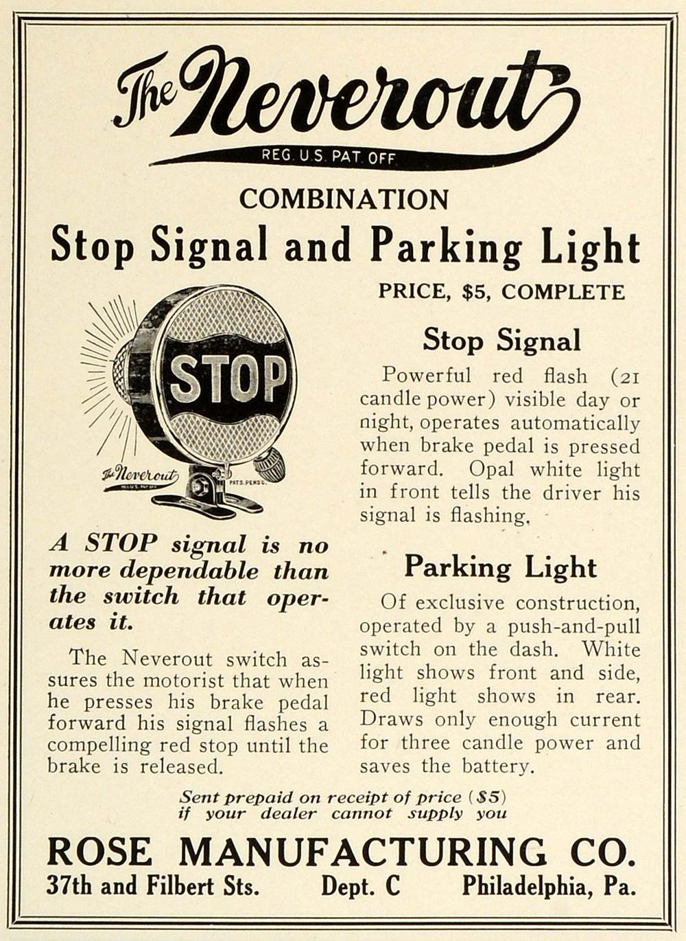 1922 Ad Rose Manufacturing Neverout Stop Signal Light Philadelphia AMM1