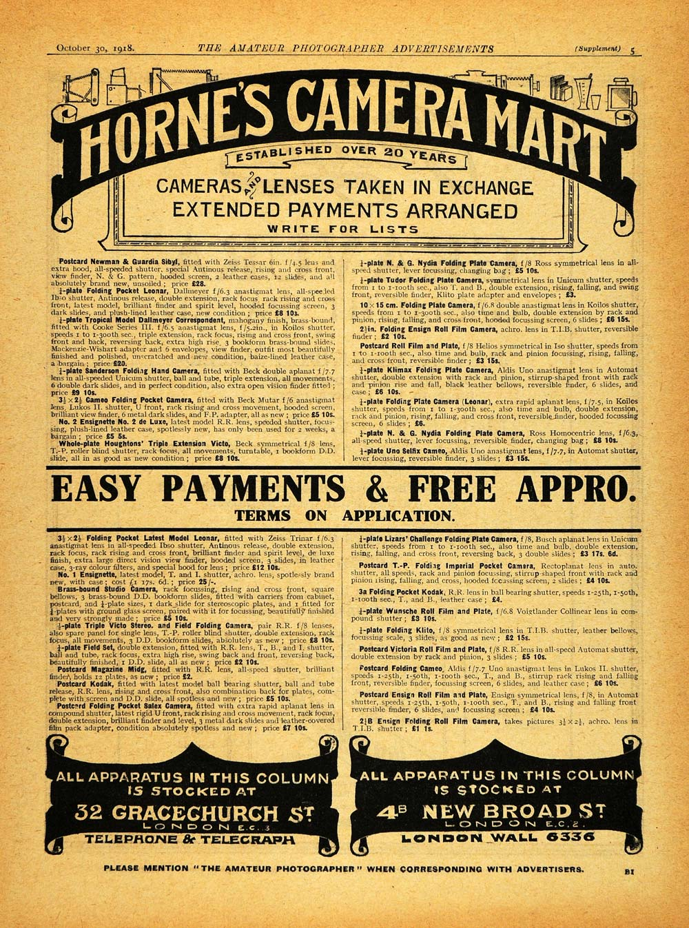 1918 Ad Hornes Camera Mart Photography Supplies Materials Lenses London AMP1