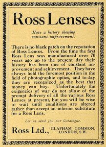 1918 Ad Ross Camera Lenses Photography London WWI - ORIGINAL ADVERTISING AMP1