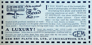 1918 Ad Gem Dry Plate Emulsion Photography Film Developing Cricklewood AMP1