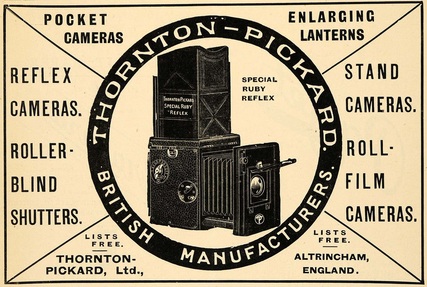 1918 Ad Antique Thornton-Pickard Ruby Reflex Film Camera Roller Blind AMP1 - Period Paper