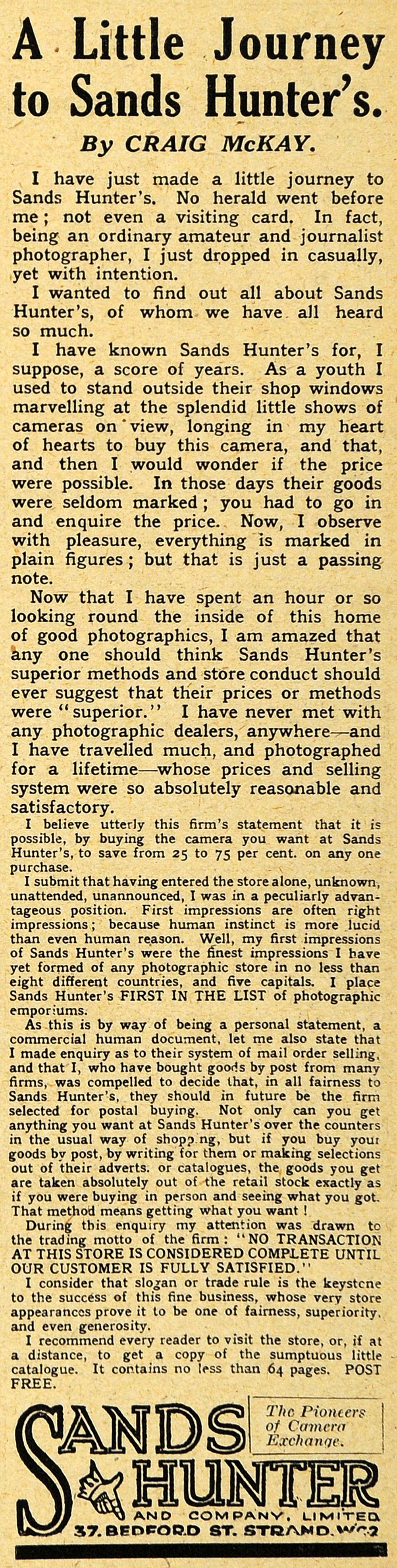 1918 Ad Sands Hunter London Photography Film Cameras Craig McKay Strand AMP1
