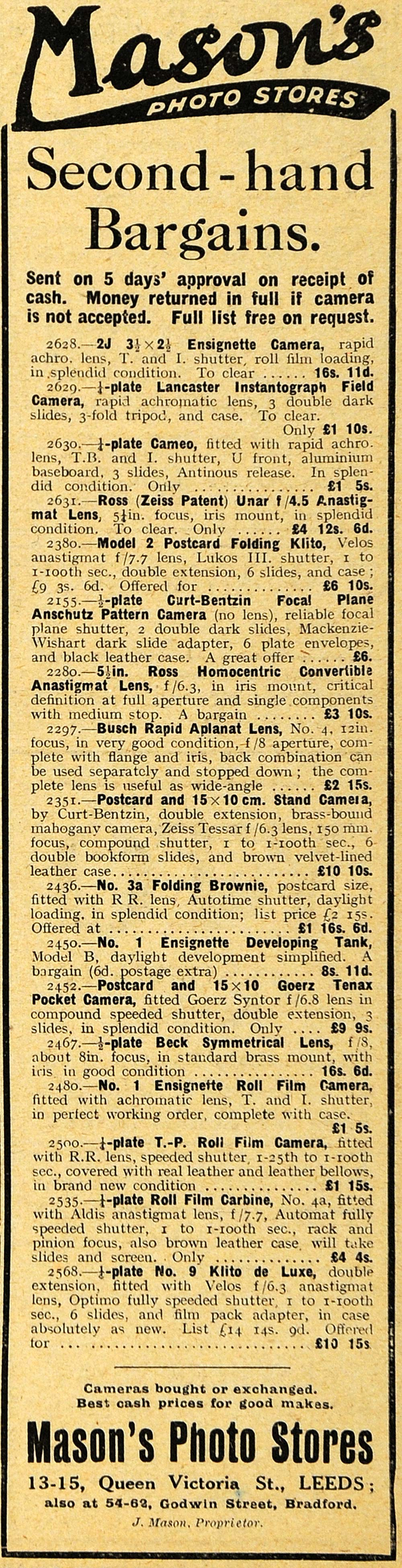 1918 Ad Mason's Photography Film Second Hand Used Cameras Styles Leeds AMP1