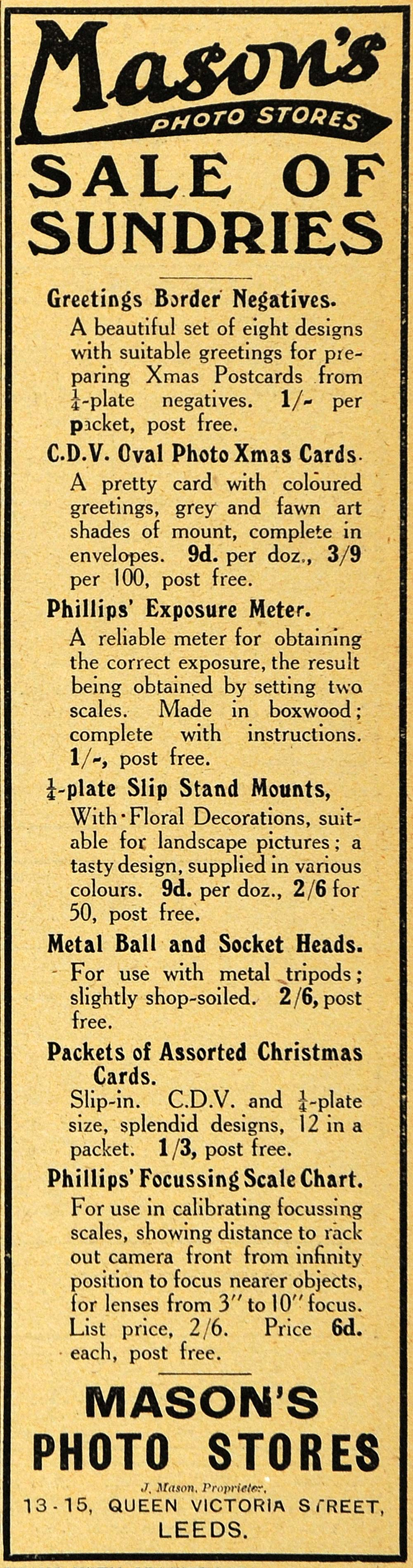 1918 Ad Mason's Sundries Phillips Exposure Meter Photography Leeds England AMP1