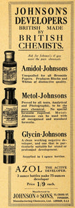1918 Ad Johnsons Amidol Metol Glycin Azol Developer Camera Film British AMP1