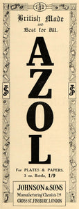 1918 Ad Azol Developer Plates Papers Johnson British Camera Film AMP1