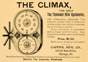1896 Ad Climax Capitol Cyclometer Chicago IL Bike Accessories American AMW1
