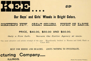 1896 Ad Kee Wheels Bicycle Pricing Illinois Bike Rider Wheels American AMW1