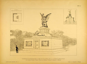 1891 Print Woerth Monument Franco-Prussian War France Battle Memorial AR2