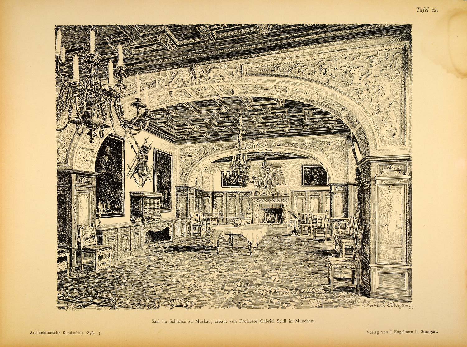 1896 Print Room Hall Muskau Gabriel von Seidl Architect ORIGINAL HISTORIC AR3
