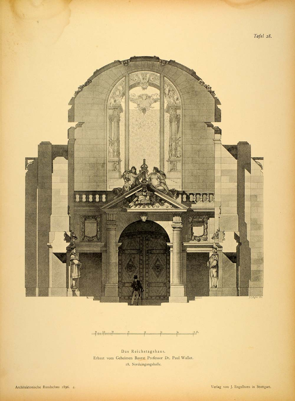 1896 Print Door Reichstag Berlin Paul Wallot Architect ORIGINAL HISTORIC AR3