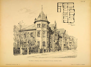 1896 Print House Munich Heilmann & Littmann Architects ORIGINAL HISTORIC AR3