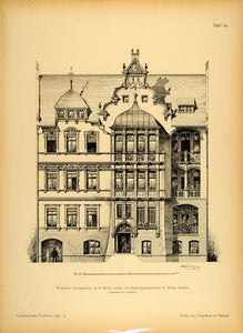 1894 House Lessingstrasse 35 Berlin Architecture Print ORIGINAL HISTORIC ARC2