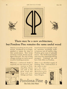 1929 Ad Pondosa Western Pine Wood Architecture Home Building Supplies ARC3