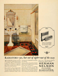 1929 Ad Herman Nelson Invisible Radiator Bathroom Home Improvement ARC3
