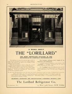1902 Ad Lorillard Glass Lined Refrigerator Electric Home Kitchen Appliances ARC3