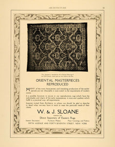 1915 Ad W J Sloane Oriental Antique Kuba Eastern Rugs XVII Interior ARC3