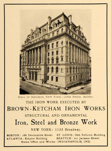 1905 Ad Records Hall NY John Peirce Architecture Brown Ketcham Ornamental ARC3