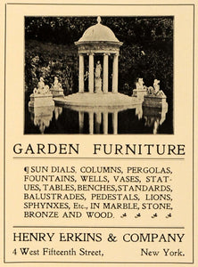1905 Ad Garden Furniture Decorative Column Statues Pergola Sundial Henry ARC3