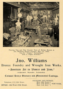 1902 Ad Jno Williams Wrought Iron Bronze Edward L Angell Architecture ARC3
