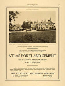 1906 Ad Atlas Portland Cement A. L. Johnson Home Fort Hamilton NY ARC3