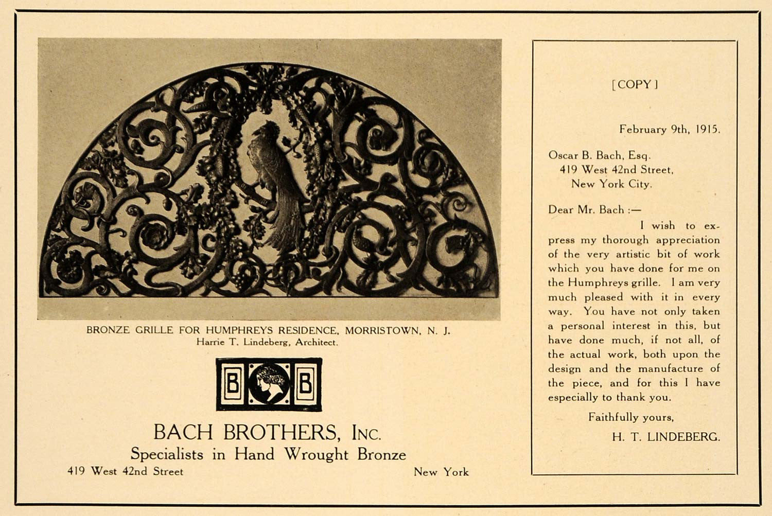 1915 Ad Harrie T. Lindeberg Bach Brothers Hand Wrought Bronze Grille ARC3