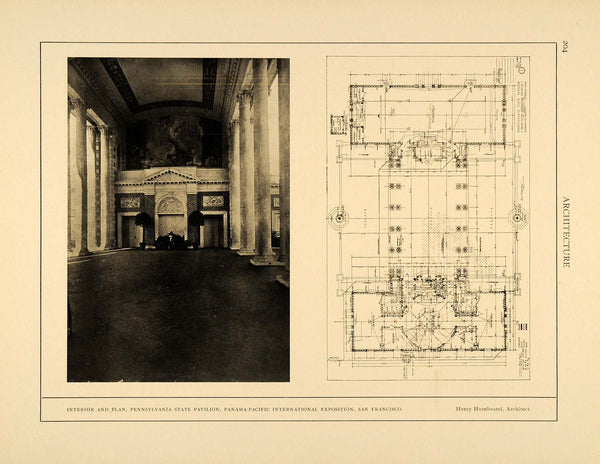 Antique vintage art tagged 1915 panama pacific period paper 1915 print pennyslvania state pavilion blueprint architecture henry arc4 malvernweather Choice Image
