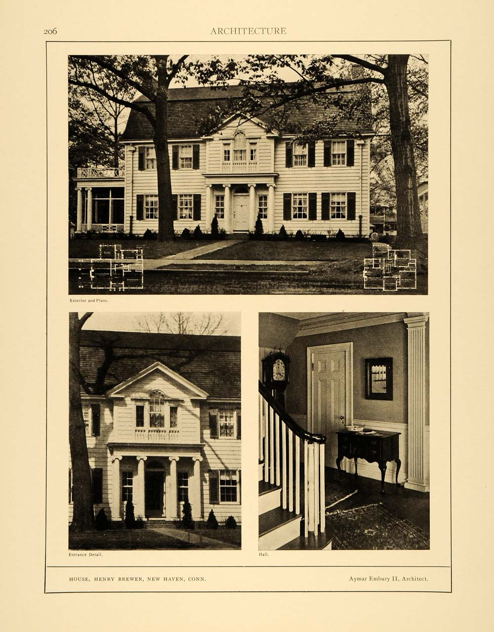 1915 Print Henry Brewer Home New Haven Connecticut Architecture Aymar ARC4