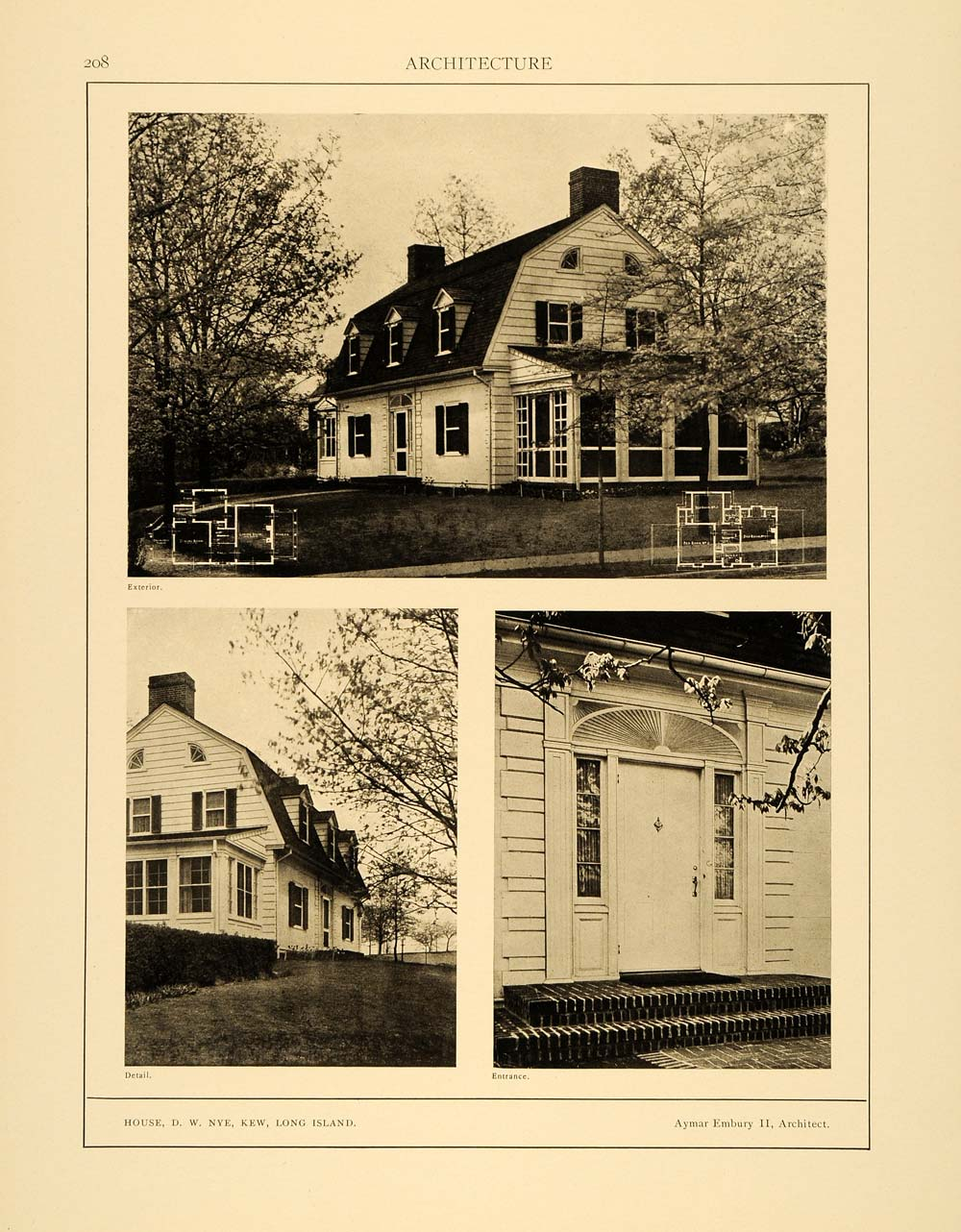 1915 Print D. W. Home Kew Long Island New York Architecture Aymar Embury II ARC4