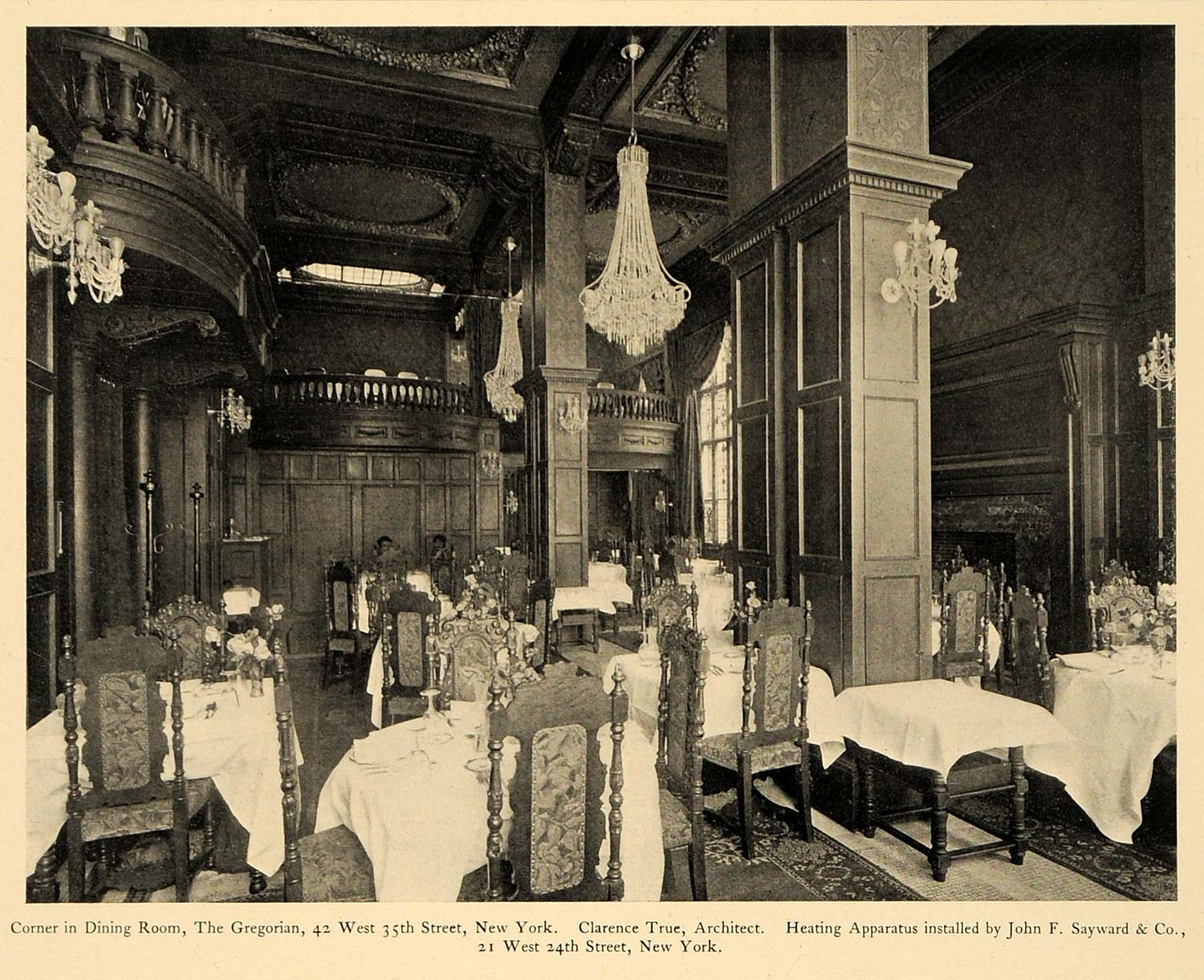 1903 Print Gregorian Dining Room 42 West 35th Street New York Interior ARC4